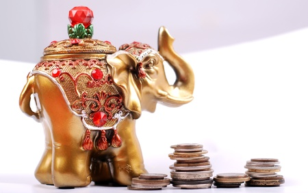 Golden hindu elephant for be happy photo