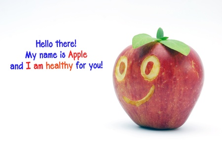 smilling: smilling apple with text hello there