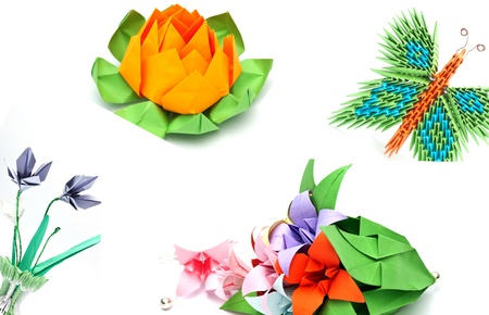 origami objects collage photo