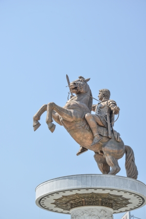 Monument Warior on horse , Skopje Macedonia photo