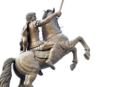 Warrior on a horse monument in Skopje Macedon Standard-Bild