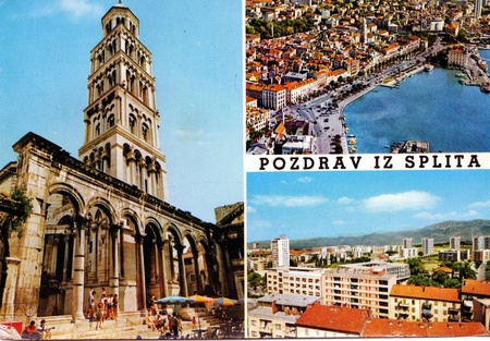 Vintage post card from split, croatia photo