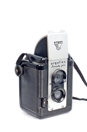 viewfinder vintage: Argoflex   Seventy-Five   Vintage Box camera with a TLR Viewfinder Made in USA  Plastic Body Production Years  1949-1958 Editorial