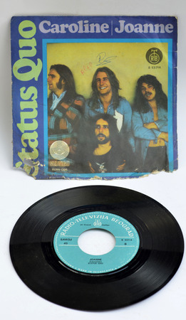 yugoslavia: status quo band ,  vinyl recorr from yugoslavia, editorial use only Editorial