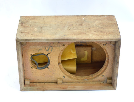 Vintage damaged wooden Speaker photo