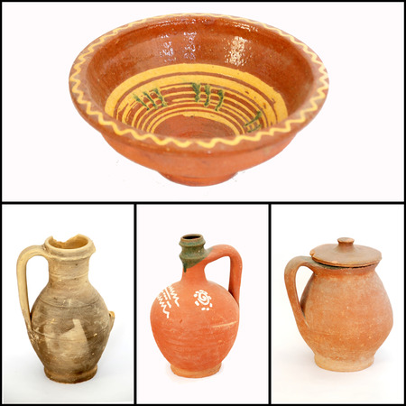 Collage of Clay pottery