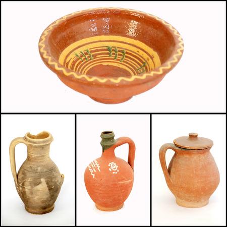 Collage von Lehmtonwaren
