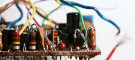 soldering: components of electronic circuits Stock Photo