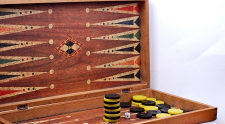 backgammon: dices on the backgammon desk