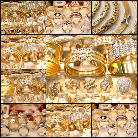 Beautiful golden jewelry,  collage