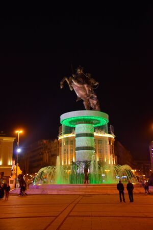 monument warrior on a horse, skopje, macedonia by night