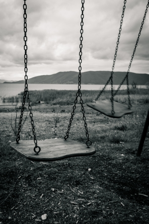 Swings in a park photo