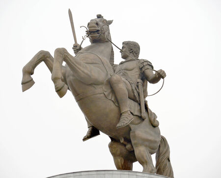 Statue of Alexander the Great in center of Skopje, Macedonia