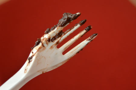 fork after eating chocolate cake