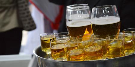 serves: drinks serves on tray