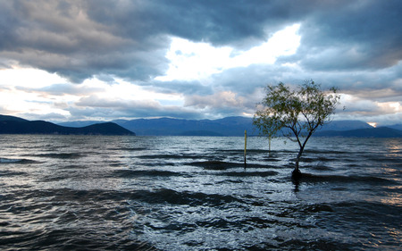 Stormy weather over Big Prespa Lake in Macedonia photo