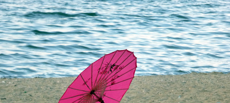 japanesse: Japanesse umbrela on a beach Stock Photo
