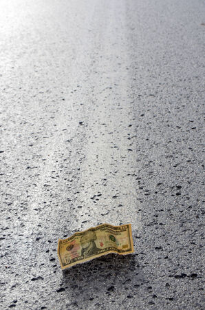 Dollar on the middle of the road photo