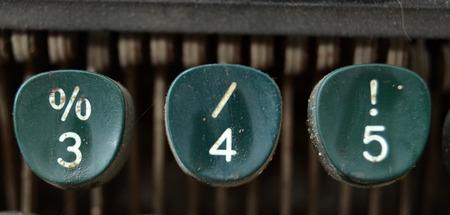 4 5: Vintage typewriter keys, 3,4,5 Stock Photo