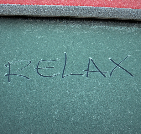 healthfulness: Relax text on frost Stock Photo