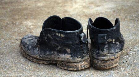 old shoes: dirty old shoes Stock Photo