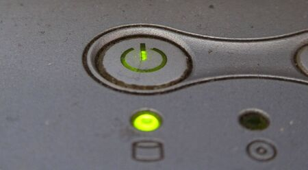 durty: Dirty and dusty switch button (OnOff) on a laptop Stock Photo