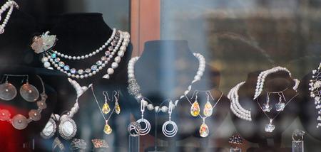 beauty shop: jewelry beads in the window Stock Photo