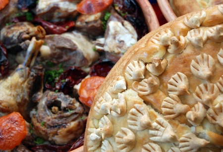 macedonian: Traditional macedonian and balkans food,picture of a