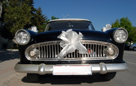 old timer: Picture of a Old timer weddin car Stock Photo