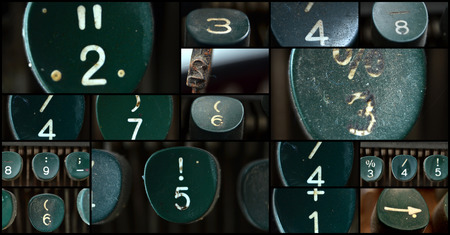 10 key: Picture of a numbers of an  old  green Typewriter , collage Stock Photo