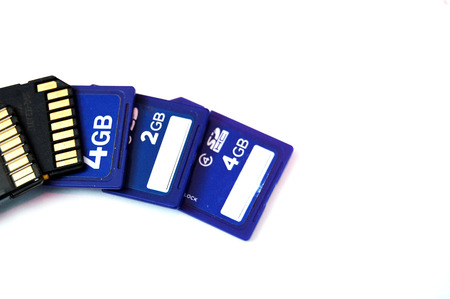 teck: Picture of a Several  SD memory cards Stock Photo