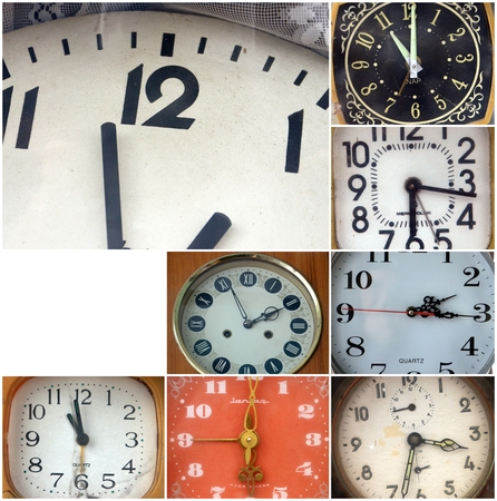 tachymeter: Picture of a Vintage retro clocks , collage