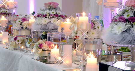 Picture of a  beautifull Wedding table decoration Stock Photo