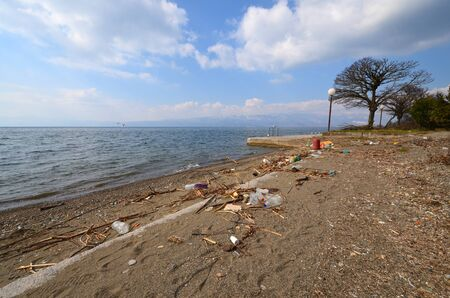 plastic pollution: Pollution concept  Plastic pollution on a beach of Lake Ohrid  Macedonia