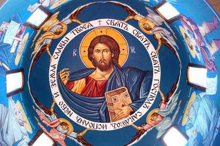 fresco: Picture of Orthodox fresco of Jesus Christ Stock Photo