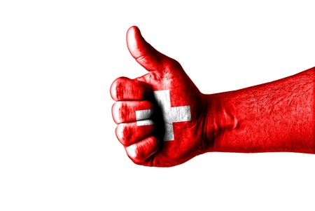 helvetia: Like Switzerland,Picture of a thumbs up .Like concept Stock Photo