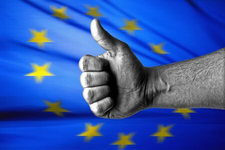 helvetia: Picture of a thumbs up . Like EU, Like concept