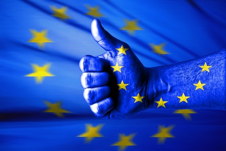 helvetia: Picture of a thumbs up . Like EU, Like concept