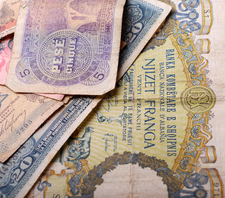 numismatic: Picture of an  Old Banknote from Albania Stock Photo