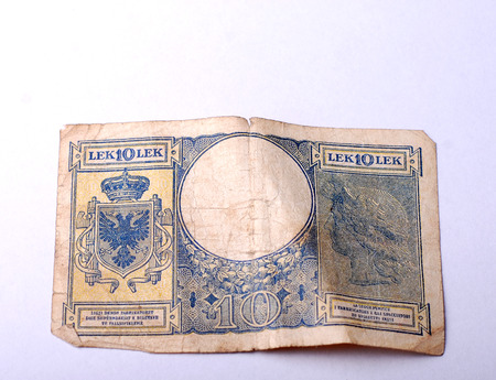 papermoney: Picture of an  Old Banknote from Albania Stock Photo