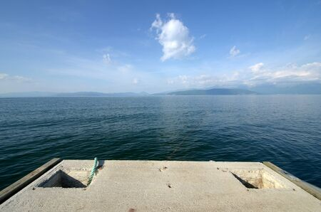 ponton: Picture of a Lake Prespa, Macedonia  Stock Photo
