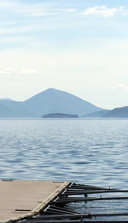 ponton: Picture of a Lake Prespa, Macedonia