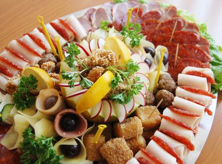 picture of a delicatessen, cold cuts, buffet,