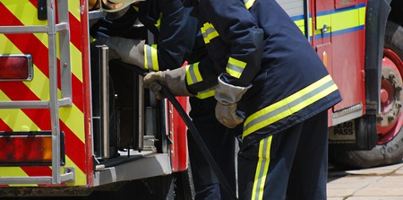 fire brigade: Exercise of the fire brigade and ambulance