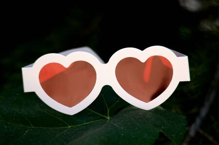 glases: Heart like  red glases