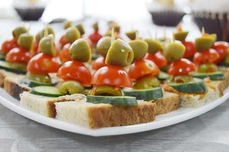 canapes: Well decorated food of canapes Stock Photo
