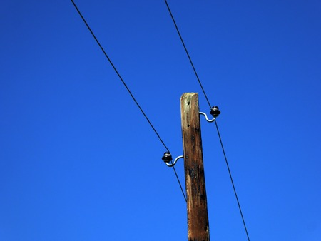 electric grid: Picture of a Wooden pole in rural area