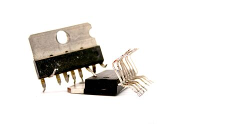 microelectronics: Picture of a technology  concept . damagaed processor unit