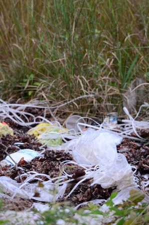 trashy: Ecology concept. Plastic garbage on a meadow