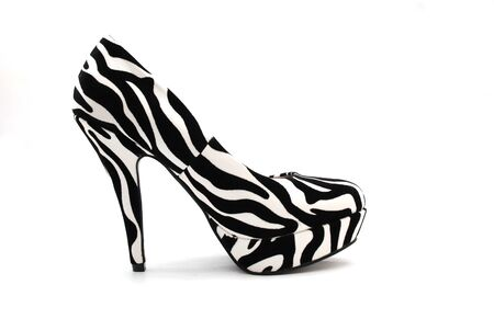 high heels: Picture of a Zebra High Heels on a white background Stock Photo